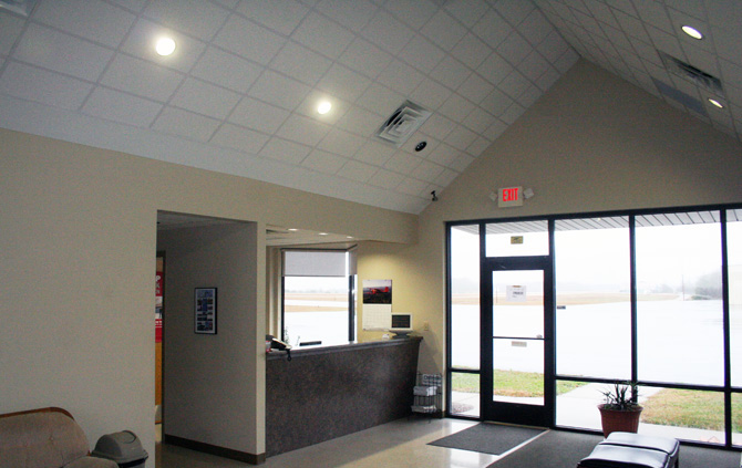Inside the terminal at Scott County Airport.