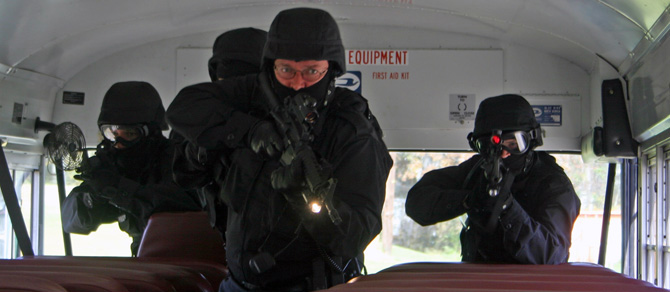 Oneida Police Department's Special Operations Response Team takes part in a training exercise.